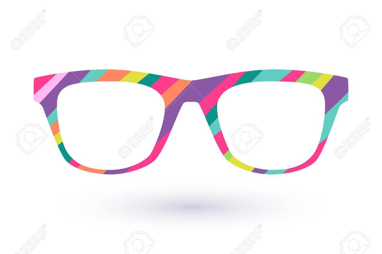 Colorful Glasses Frame Icon Simbol. Diagonal Lines Flat Colors ...