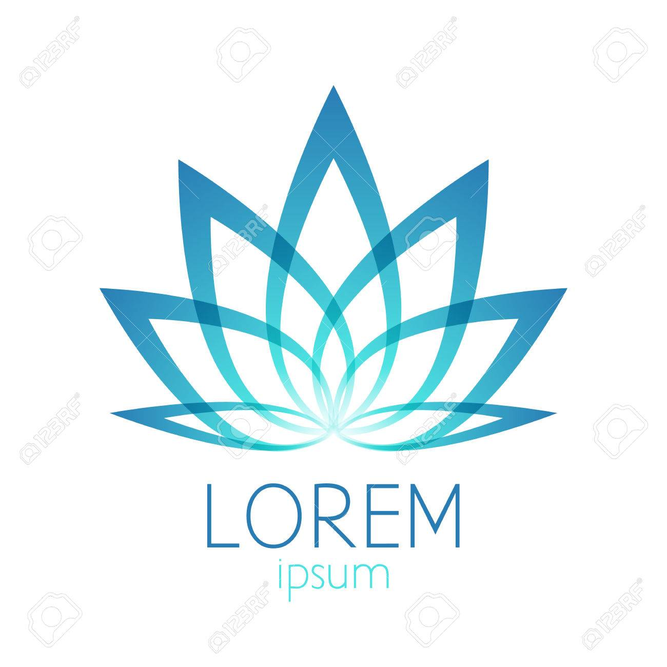 Beautiful Turquoise Lotus Flower Template Sign Good For Spa Yoga