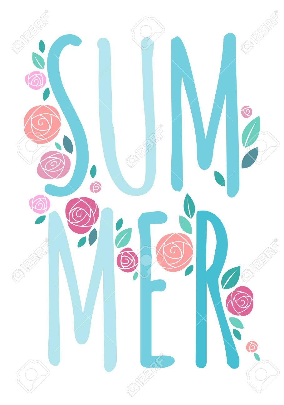 summer word composition with roses and leaves flat style good