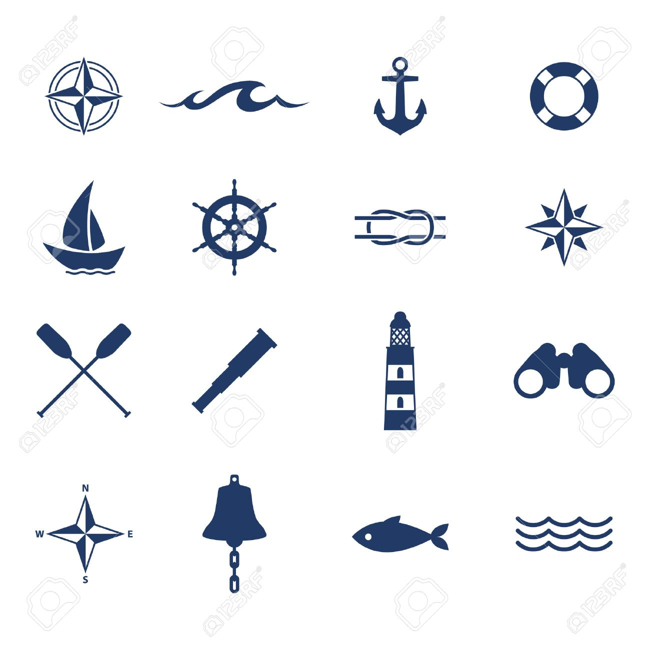 Set of nautical sea ocean sailing icons compass anchor wheel set of nautical sea ocean sailing icons compass anchor wheel bell fish lighthouse symbols biocorpaavc Choice Image