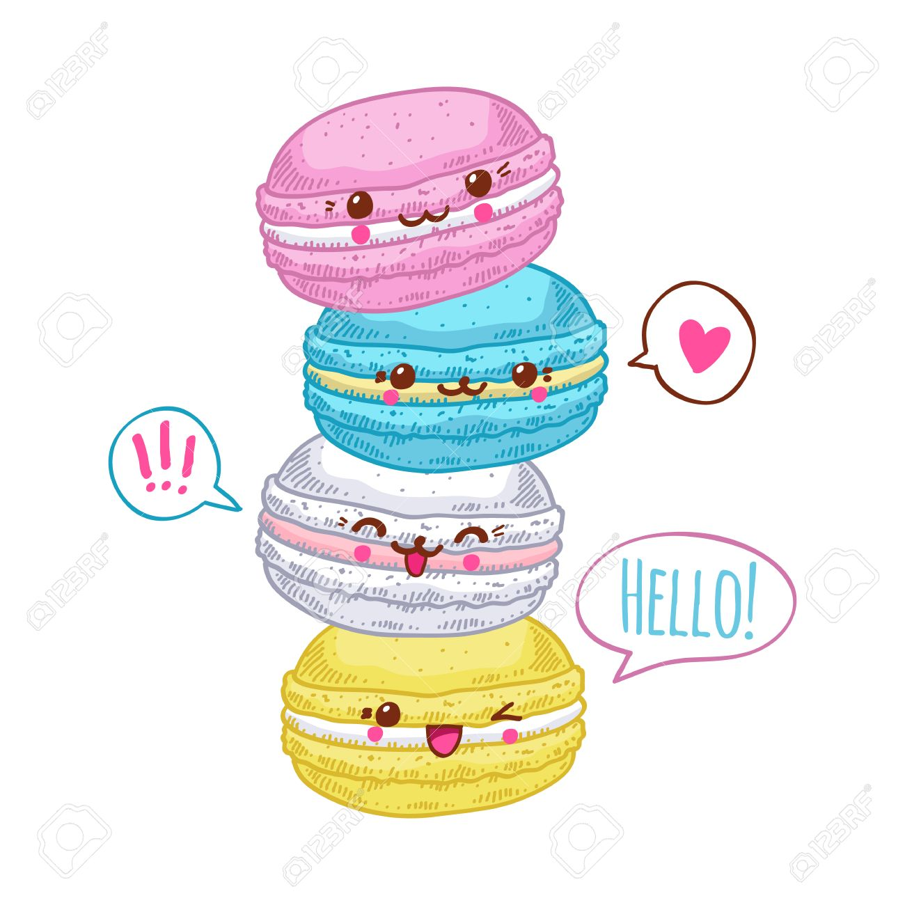 Group Of Four Cute Kawaii Macarons Sweet Funny Macaroons Characters For Your Design Stock