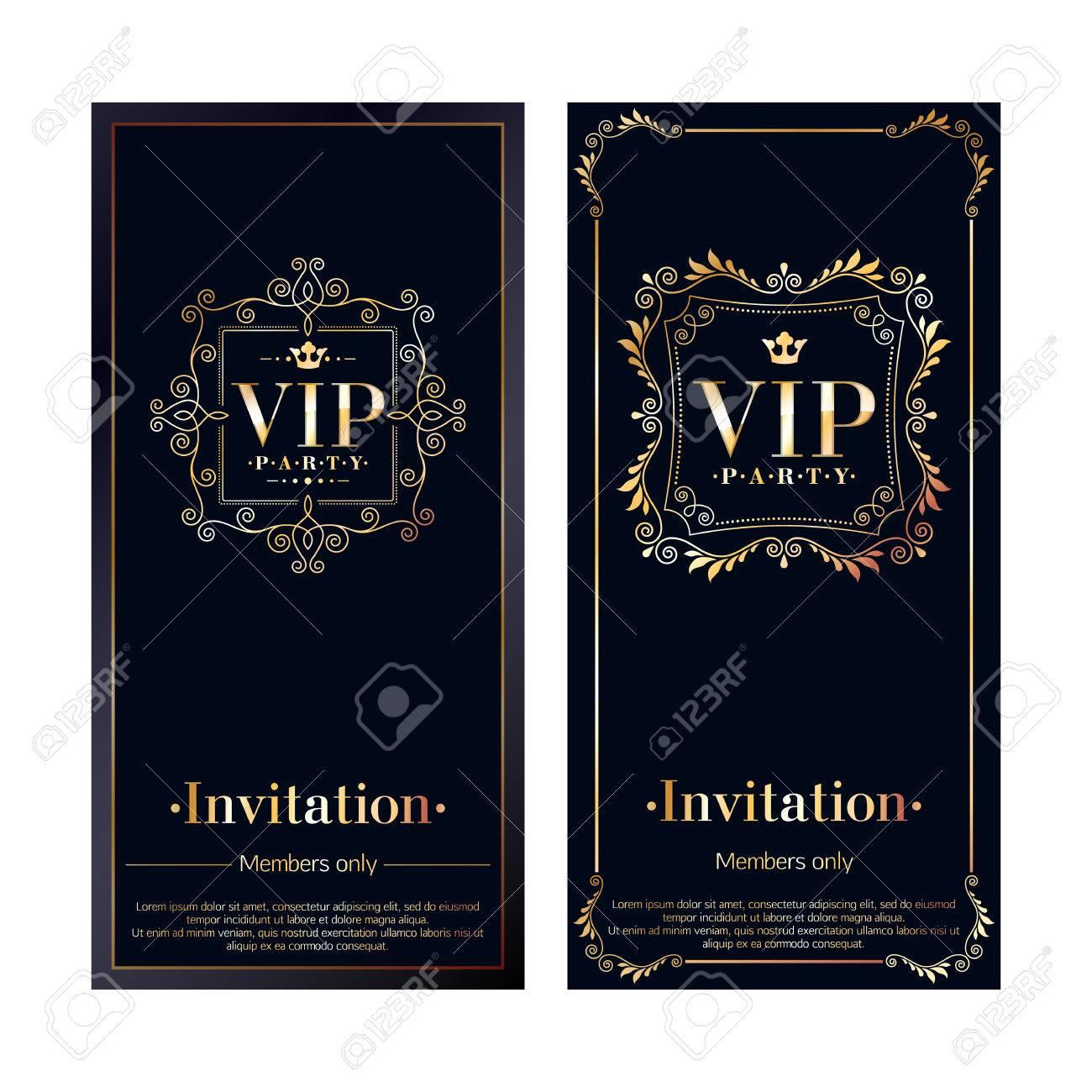 Vip zone members premium invitation cards black and golden design vector vip zone members premium invitation cards black and golden design template set classic floral retro decorative vignettes design stopboris Image collections