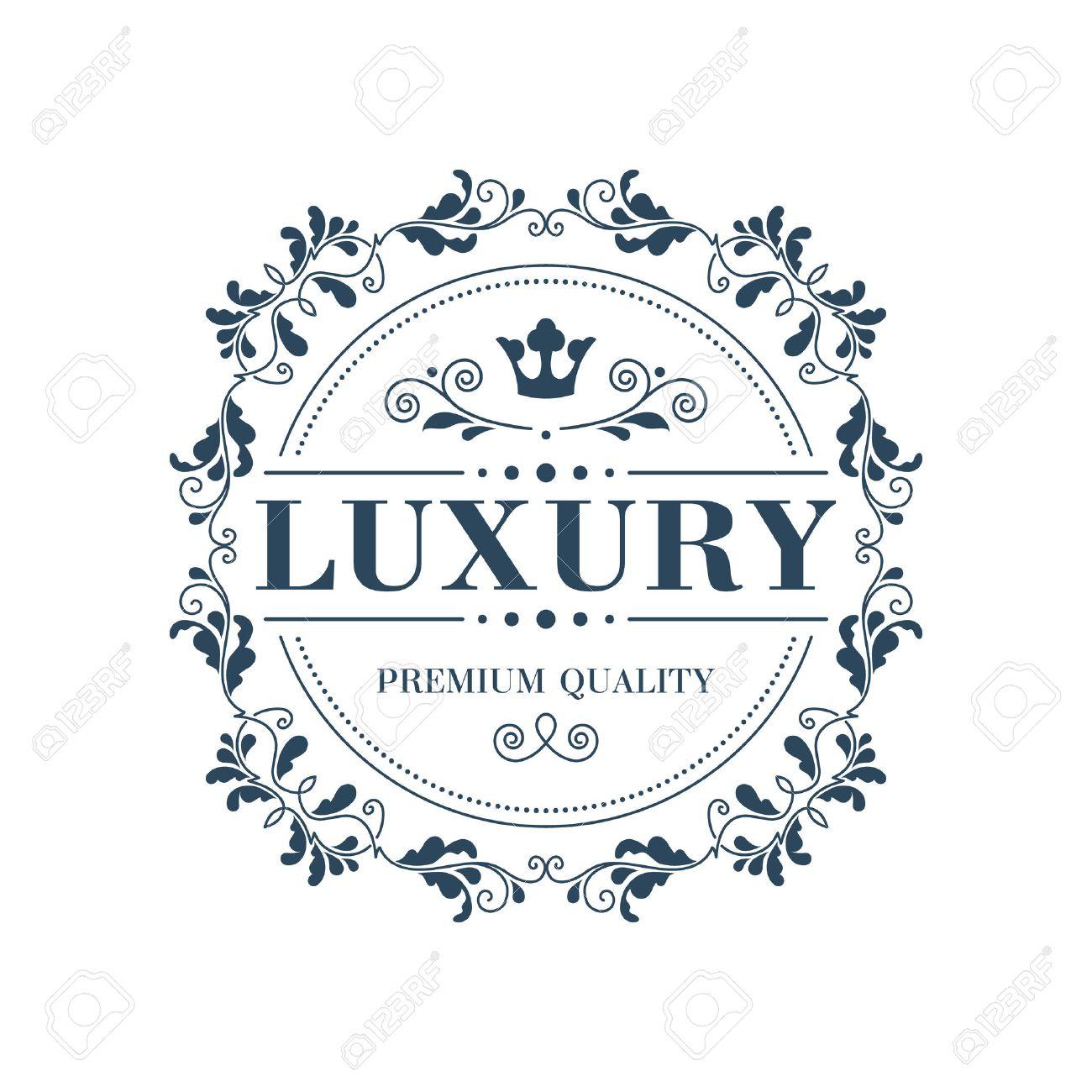 Flourish logo template glamour calligraphic monogram ornament label. Good for restaurant boutique hotel heraldic jewelry fashion emblem. Vector illustration. - 44756685