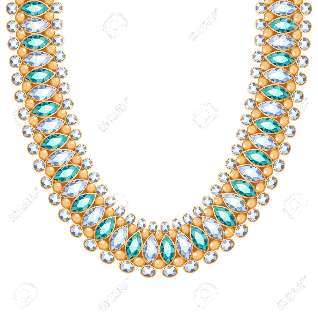 b2d78c25b65b Foto de archivo - Piedras preciosas diamantes y esmeraldas cadena collar o  una pulsera de oro. Diseño personal accesorio de moda de estilo indio  étnico.