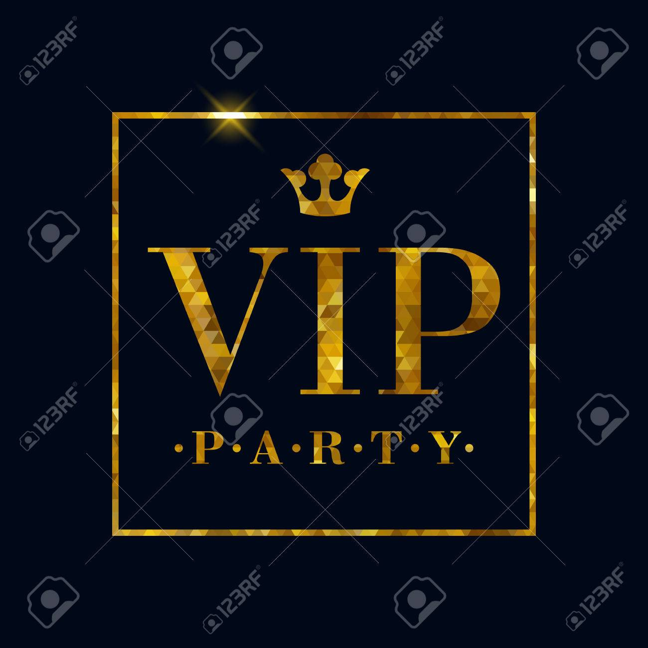 VIP Party Abstract Mosaic Faceted Background, Golden Letters ...