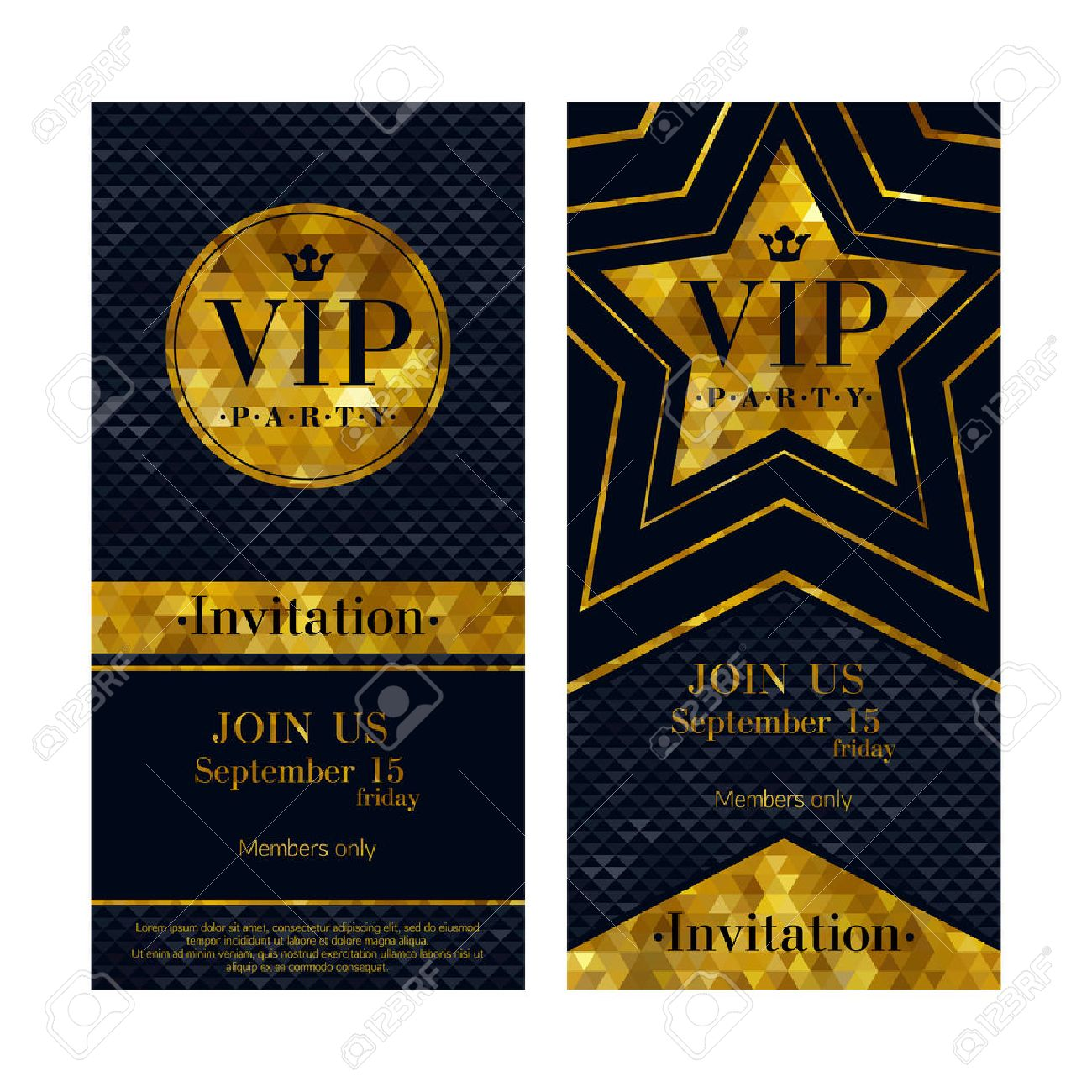 Invitation card stock photos royalty free invitation card images vip party premium invitation cards posters flyers black and golden design template set circle stopboris Gallery