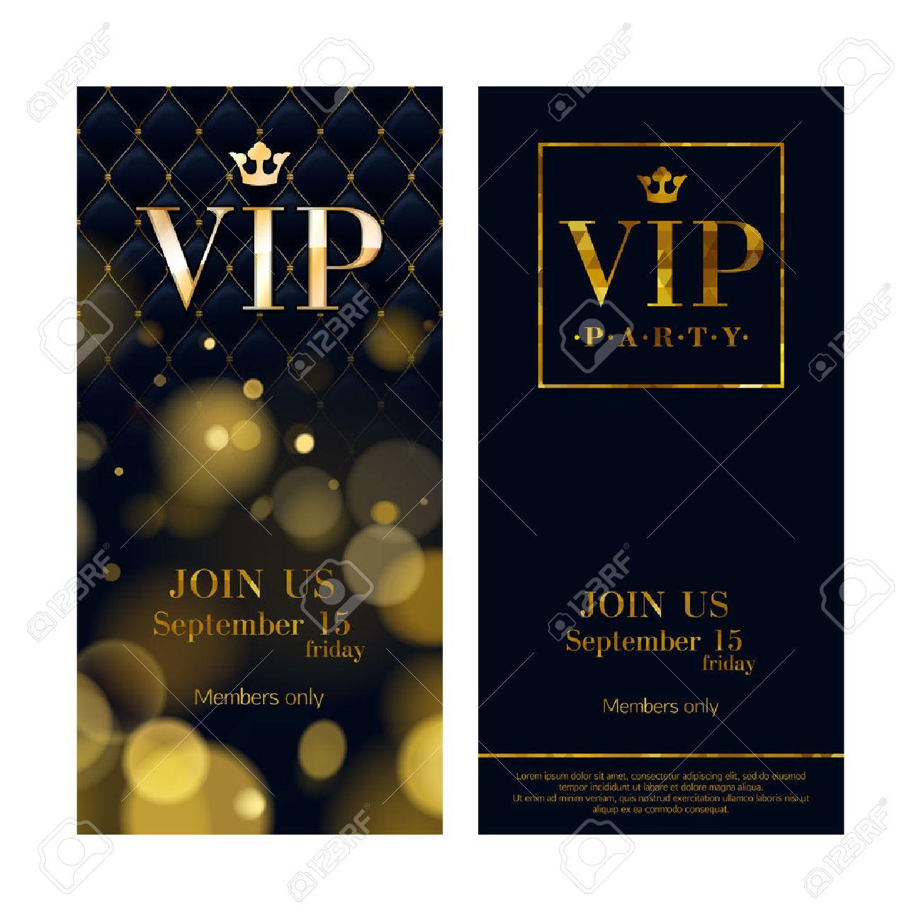 VIP Party Premium Einladungskarten Poster Flyer. Schwarze Und Goldene Design  Vorlage Set