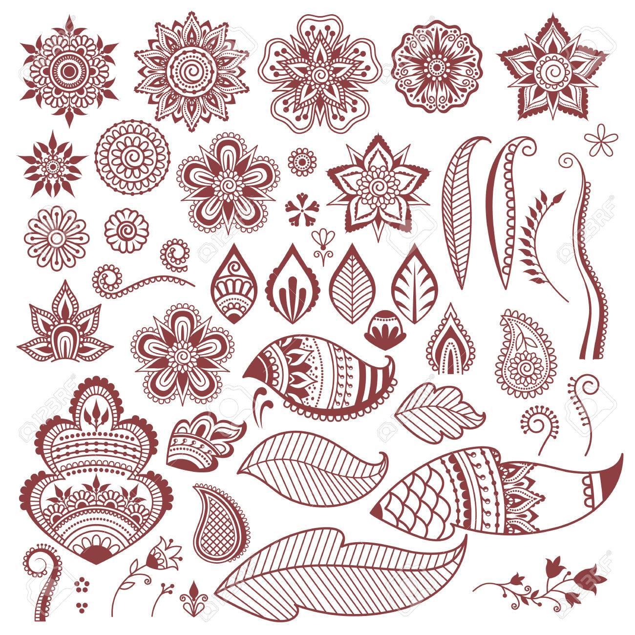 Mehndi Henna Tattoo Flowers And Leaves Elements Set Ethnic Beauty