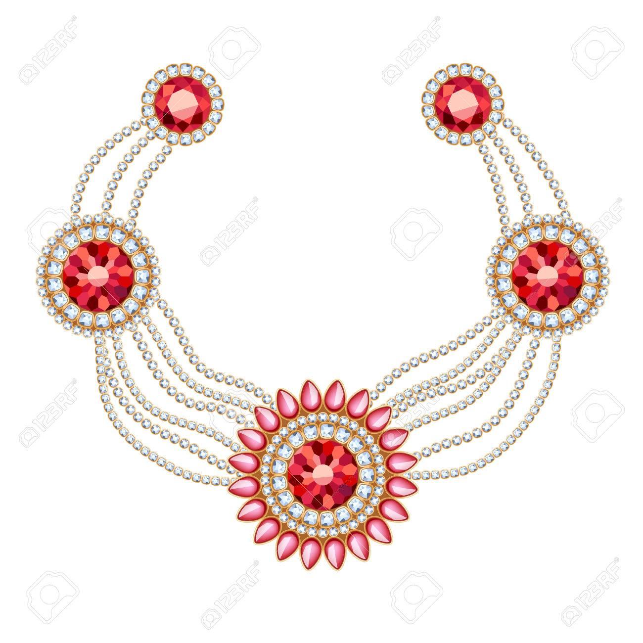 37c7e7021b6c Colgantes redondos collar de oro con las piedras preciosas joyas de rubí en  las cadenas de