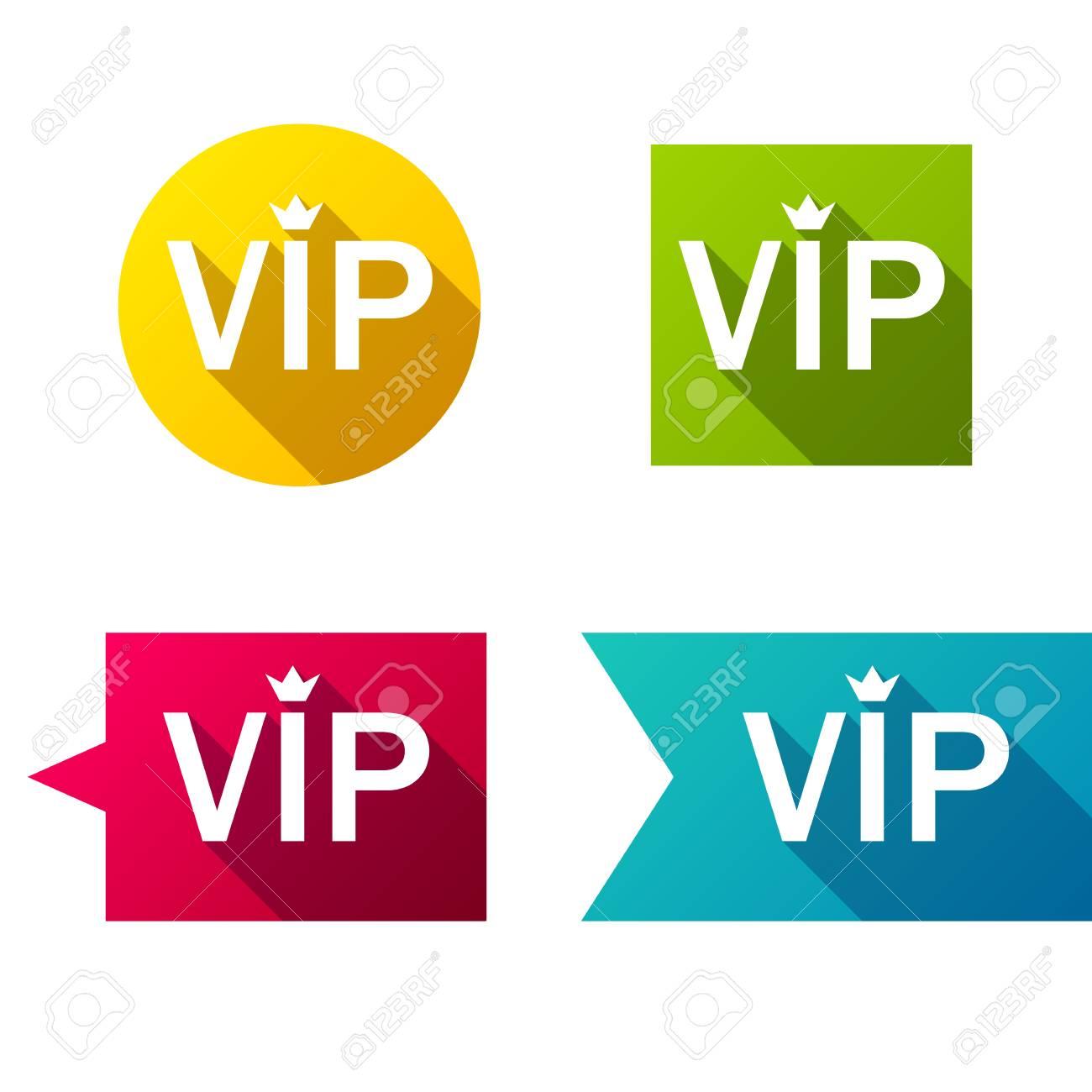 colorful vip badges labesl set simple flat style design royalty
