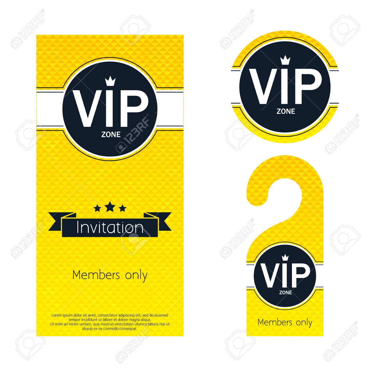 Vip party premium invitation card warning hanger and round label vector vip party premium invitation card warning hanger and round label badge golden faceted mosaic design template set simple minimalistic style with stopboris Image collections