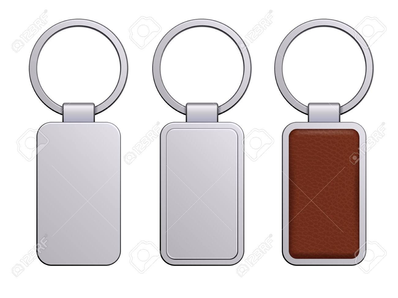 realistic keychains pendants templates set metal and leather