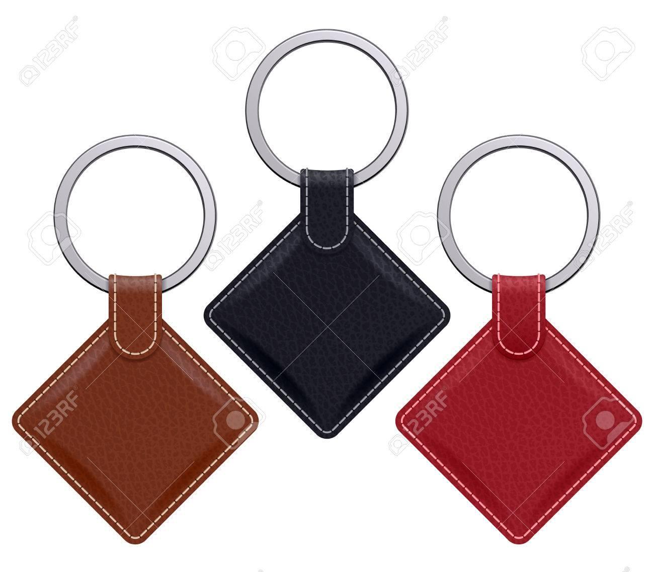 realistic keychains pendants templates set square leather designs