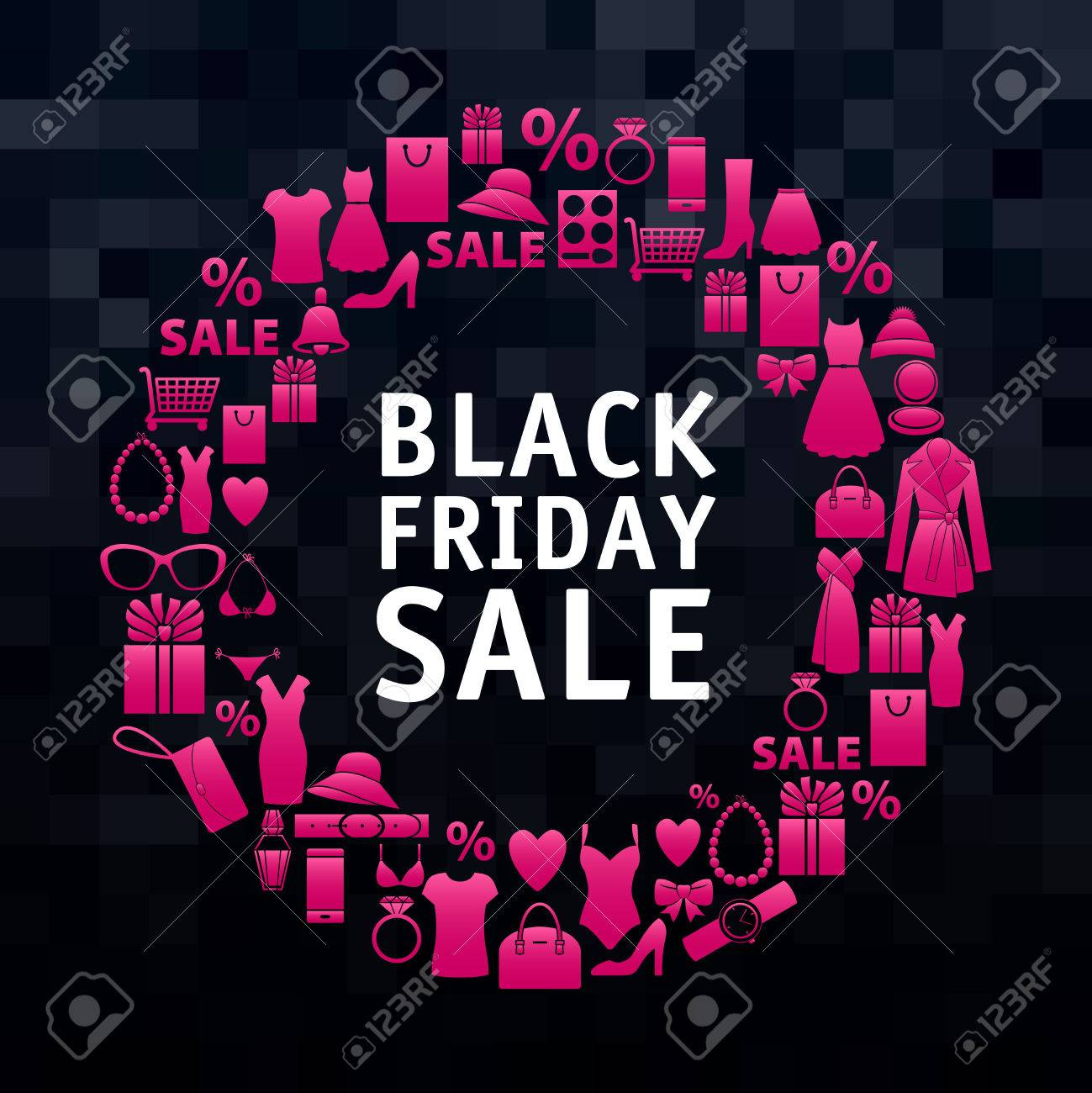 Black Friday Sale Wreath Of Pink Shopping Icons Clothes And Royalty Free Cliparts Vectors And Stock Illustration Image 48041360