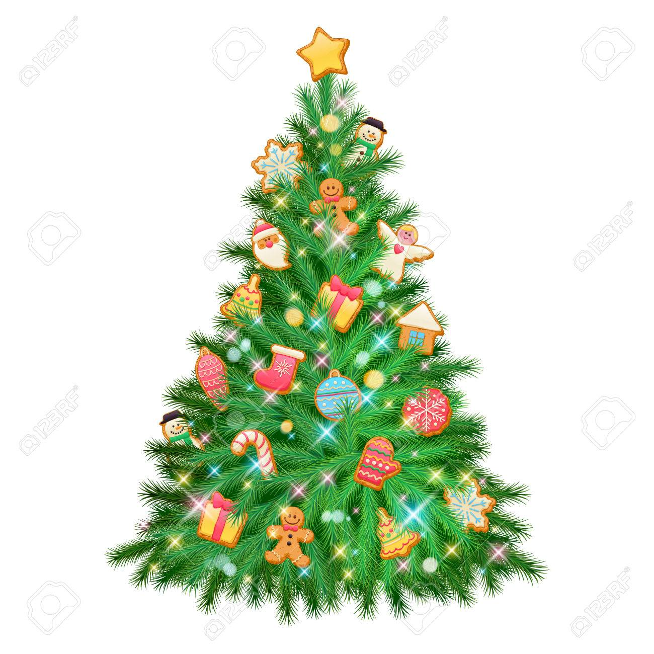 Beautiful Glowing Shiny Colorful Christmas Tree With Decorations ...