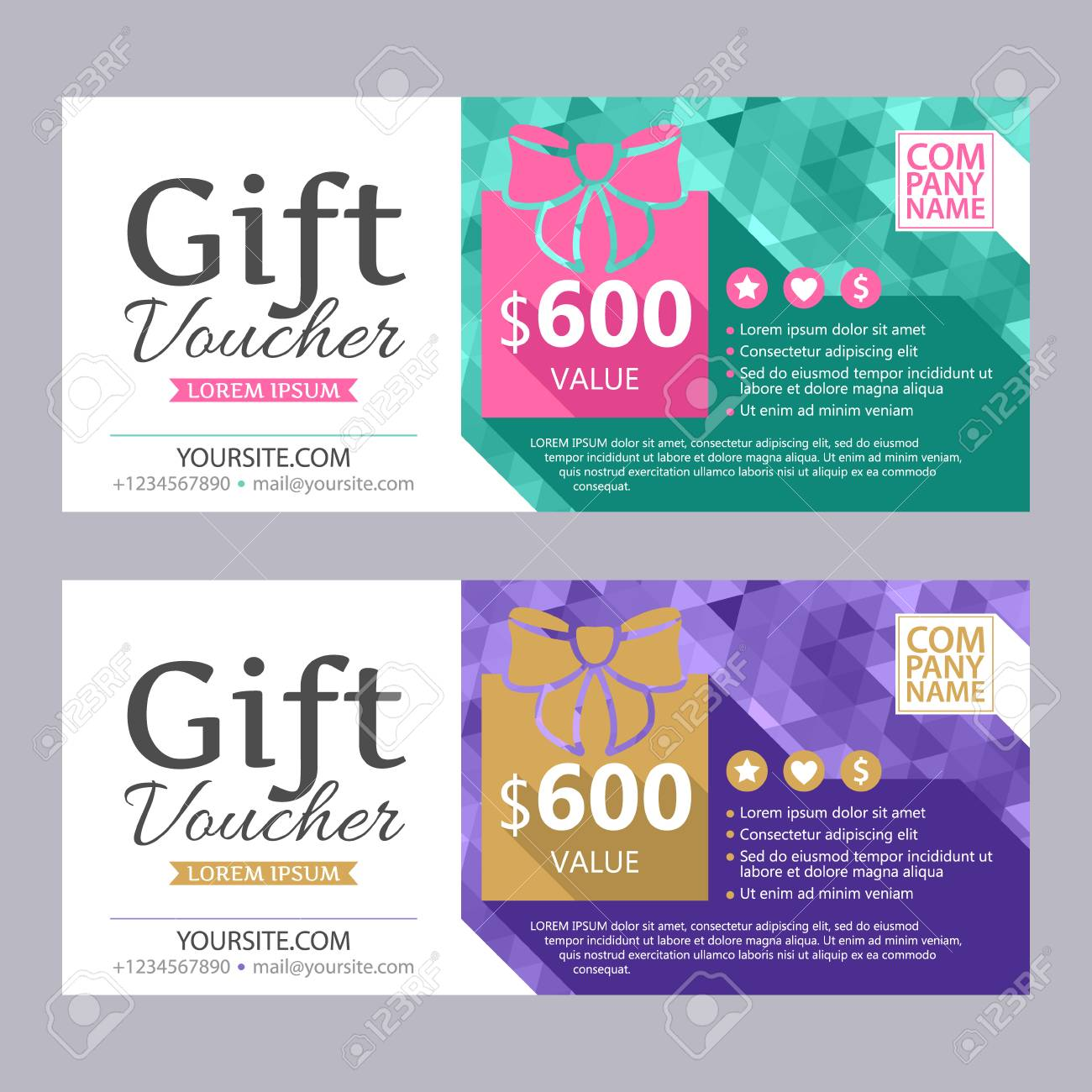 Gift Voucher Colorful Template Set With Bright Faceted Mosaic ...