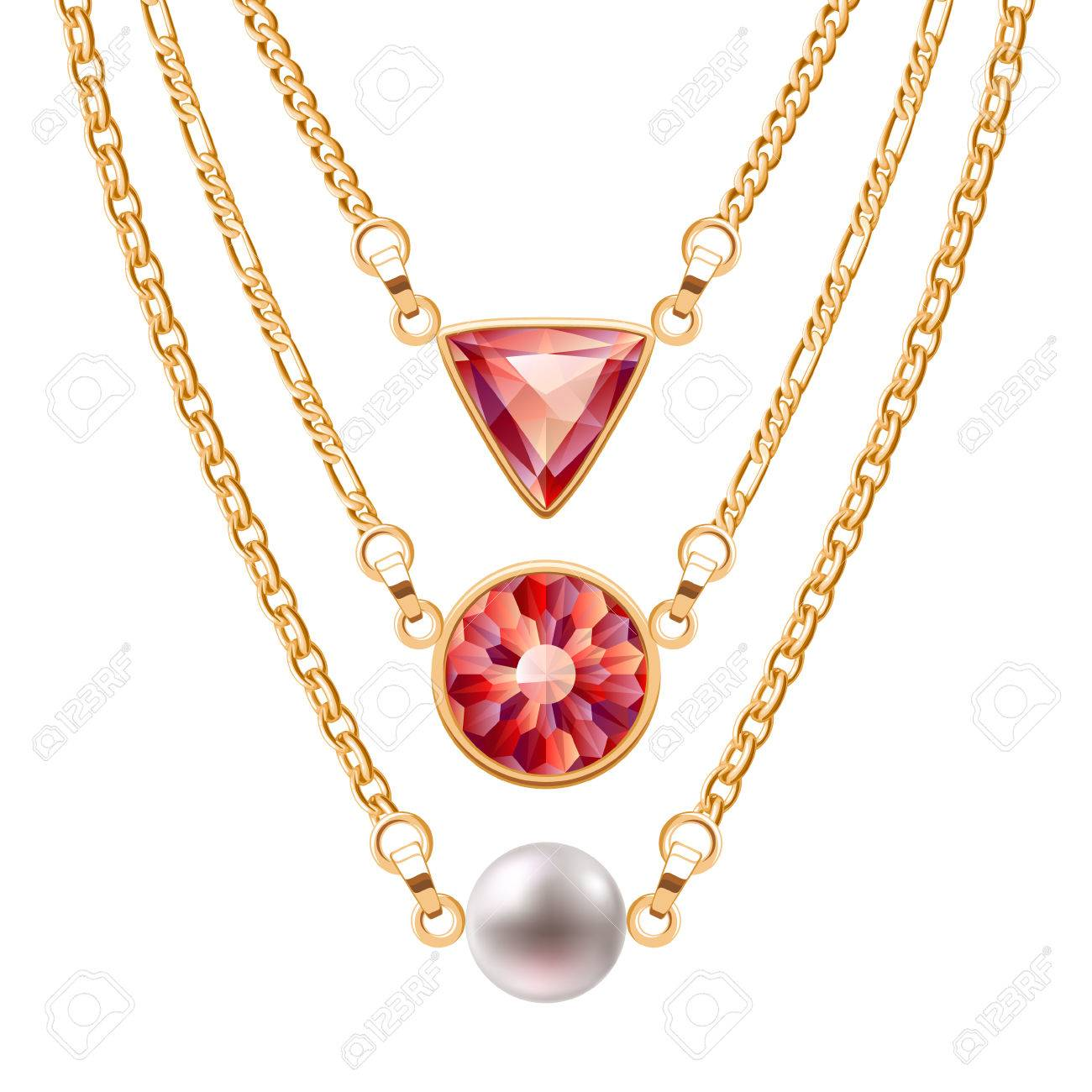 Golden chain necklaces set with round and triangle ruby pendants and pearl. Jewelry vector design. - 51440212