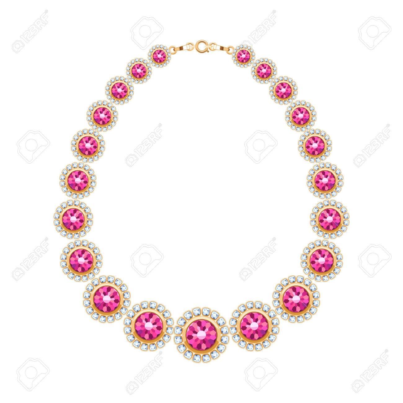 6a0888dab213 Foto de archivo - Las piedras preciosas la cadena del collar metálico de  oro o una pulsera de rubíes y diamantes. diseño de accesorio de moda  personal.