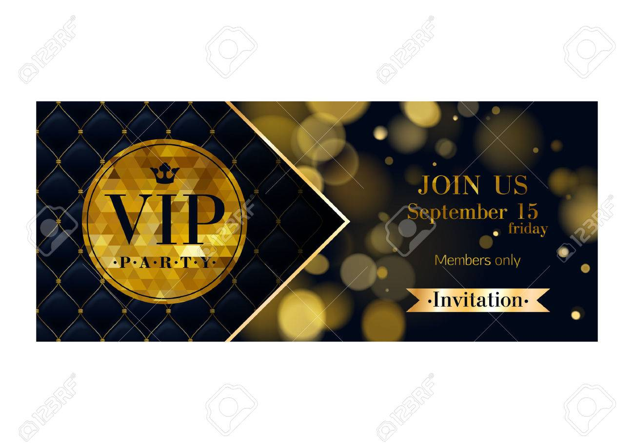 VIP party premium invitation card poster flyer. Black and golden design template. Glow bokeh and quilted pattern decorative background. Mosaic faceted letters. - 51946307