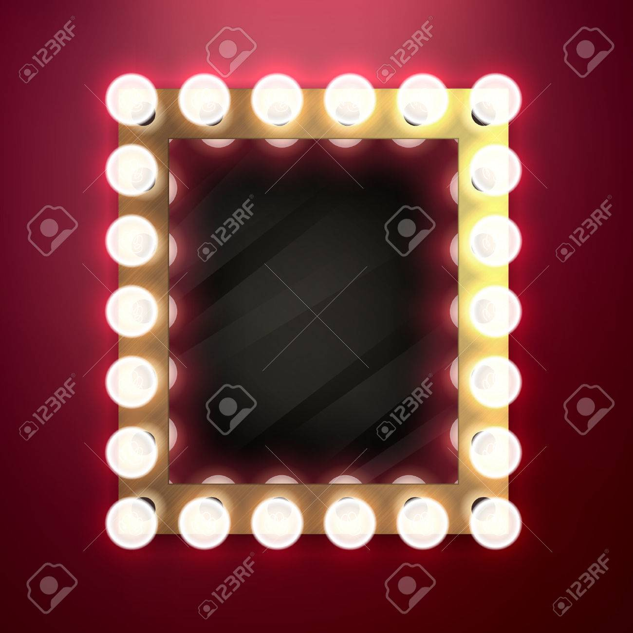 Realistic retro vintage make up mirror with light bulbs vector illustration. Beauty backstage design concept. - 51946340