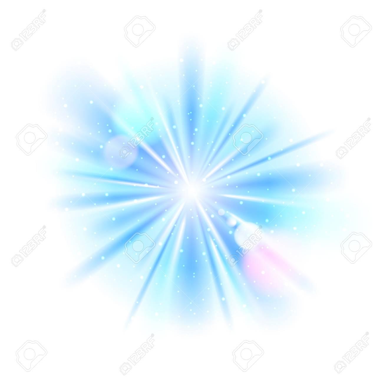 Blue light sunburst background. Vector star burst with sparkles illustration. - 52985158