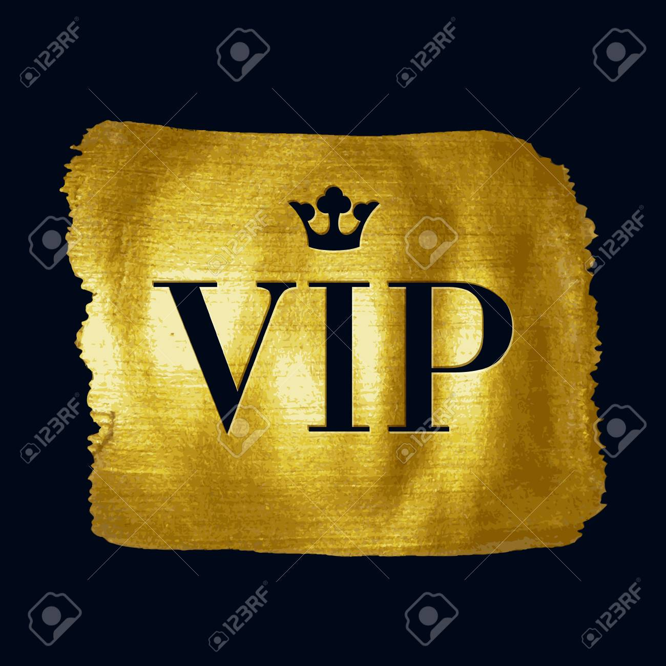 Vip premium letters with royal crown on golden paint brush stroke vector vip premium letters with royal crown on golden paint brush stroke illustration good for party invitation poster card flyer design spiritdancerdesigns Images