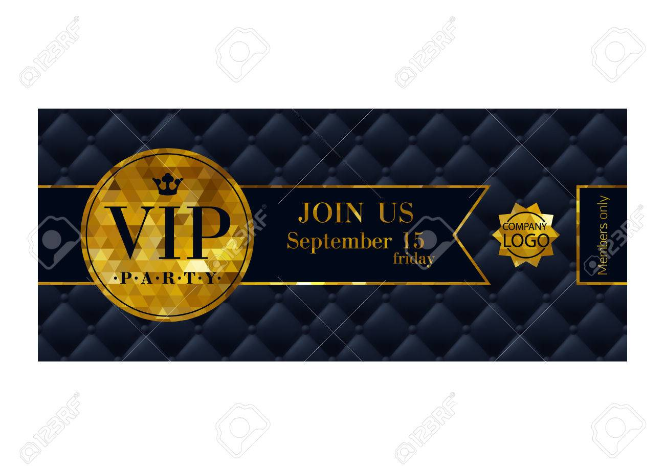 VIP party premium invitation card poster flyer. Black and golden design template. Quilted pattern decorative background with ribbon and round badge. - 52985214