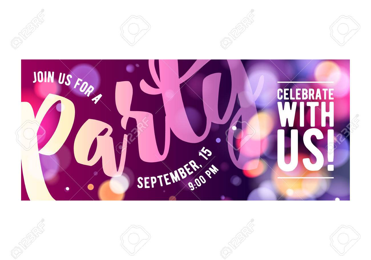 Party colorful invitation card poster flyer. Pink and purple glowing lights bokeh design template. - 52985219
