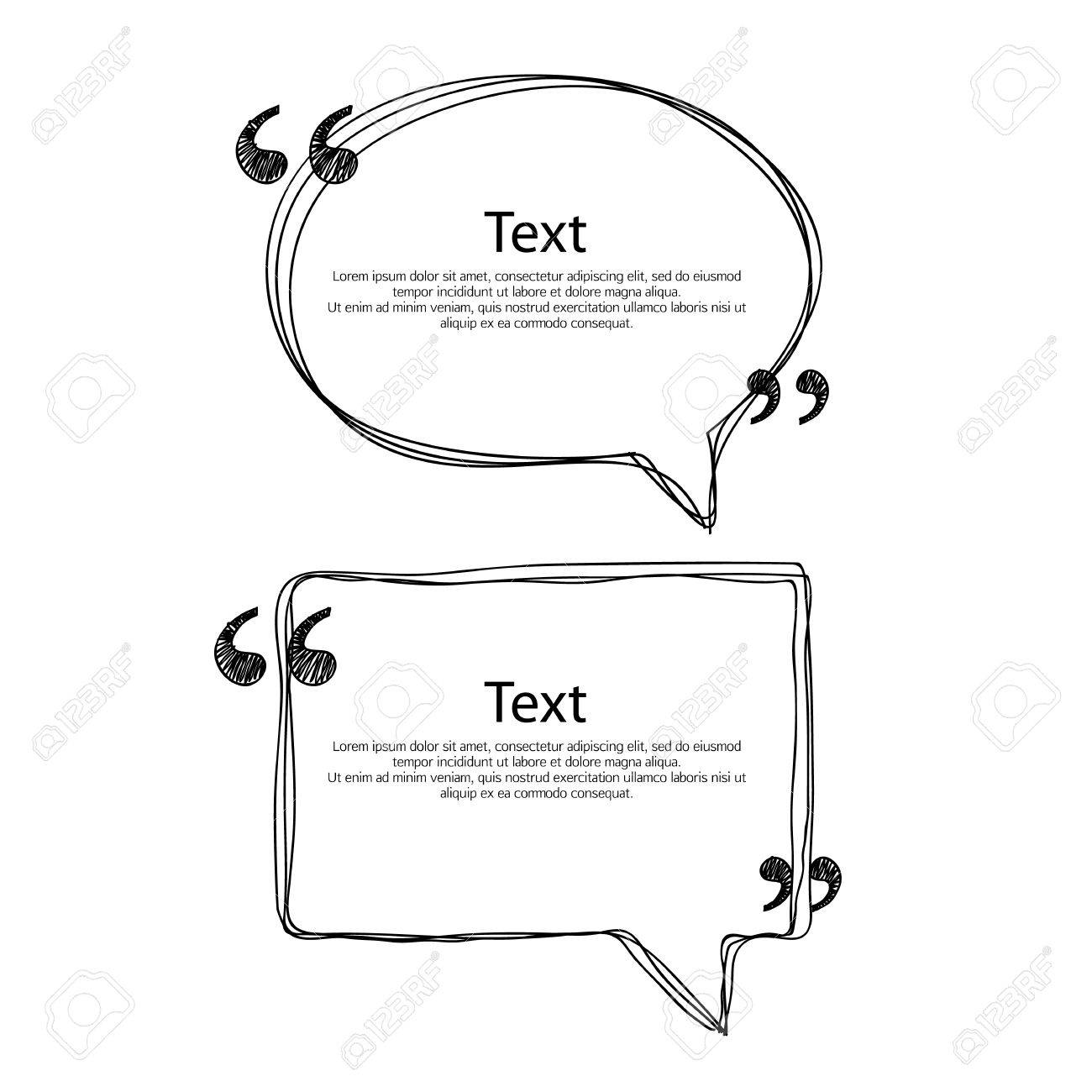 Quote bubble frame templates set vector illustration. Hand drawn scribble design. - 54198050
