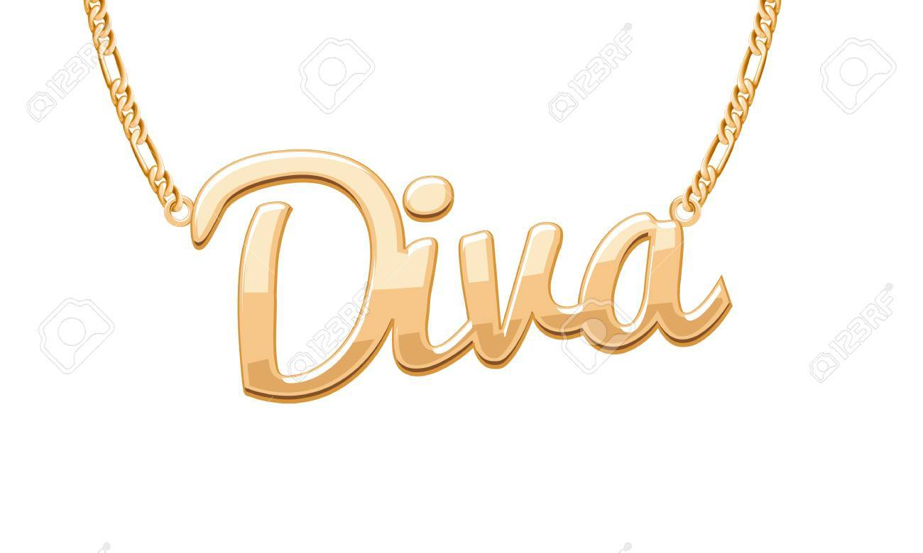 golden diva word pendant on chain necklace jewelry design royalty