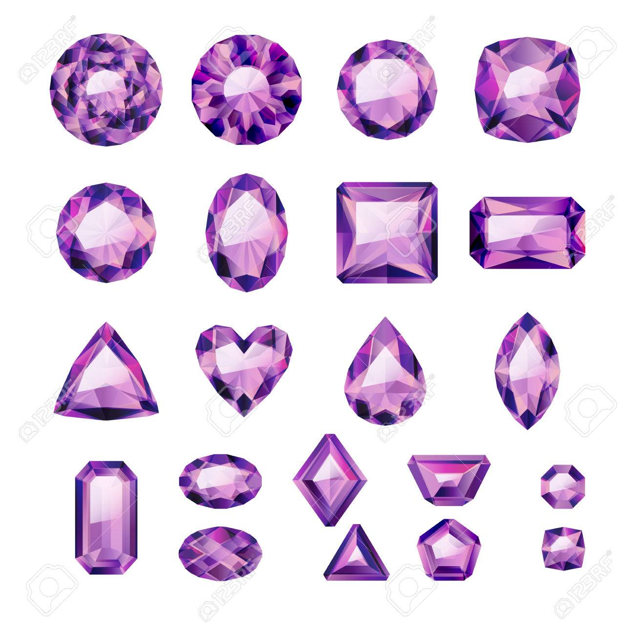 Set of realistic purple jewels. Colorful gemstones. Amethysts isolated on white background. - 54198878