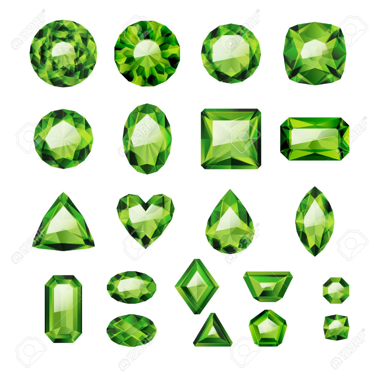 Set of realistic green jewels. Colorful gemstones. Green emeralds isolated on white background. - 54198879