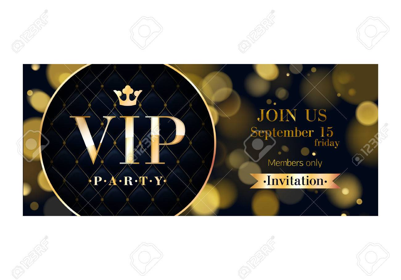 VIP party premium invitation card poster flyer. Black and golden design template. Glow bokeh and quilted pattern decorative background. Mosaic faceted letters. - 54199263