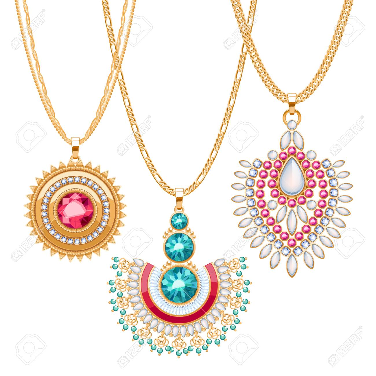 Set of golden chains with different pendants precious necklaces set of golden chains with different pendants precious necklaces ethnic indian style brooches pendants aloadofball Gallery
