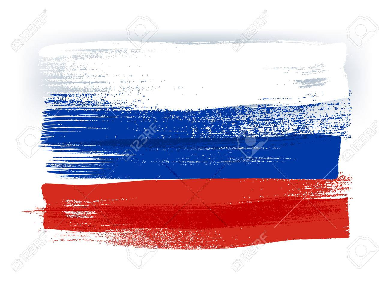 Russia colorful brush strokes painted national country russian flag icon. Painted texture. - 56476786