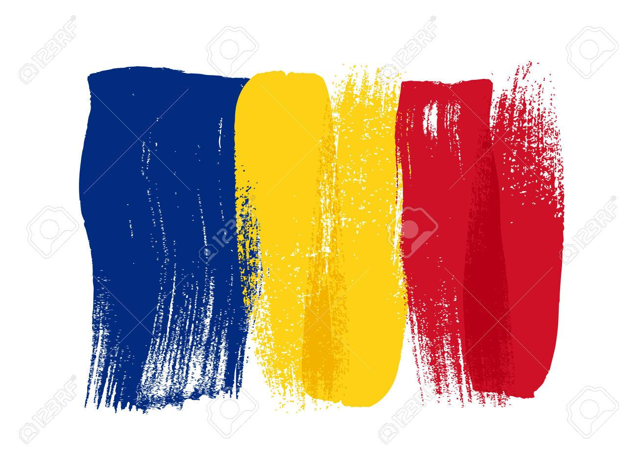 Romania colorful brush strokes painted national country Romanian flag icon. Painted texture. - 56476791