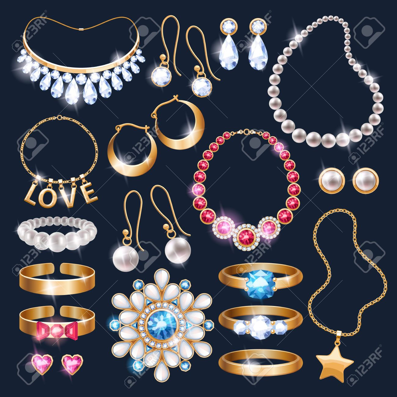 fb8ca8c19 Realistic jewelry accessories icons set. Necklace bracelet gold chain  diamond pearl earrings pendant rings vector
