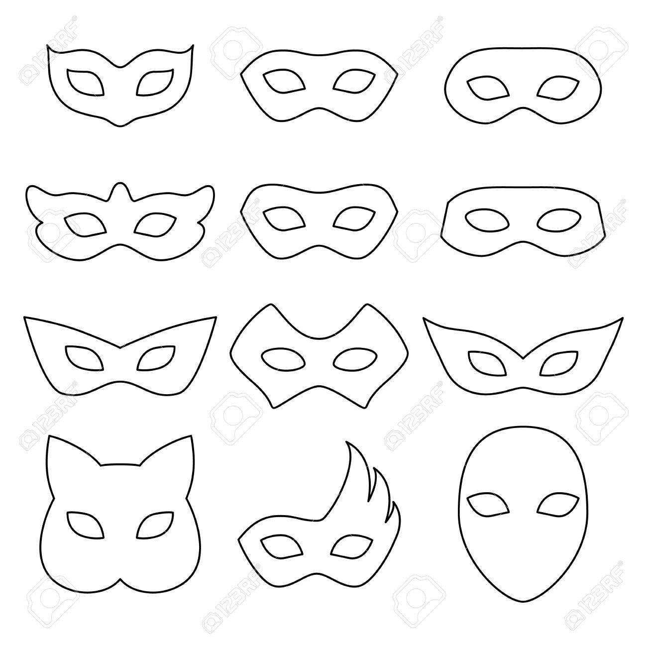 Uncategorized Blank Mask Template blank carnival assorted masks icons templates set illustration party masquerade symbol black color
