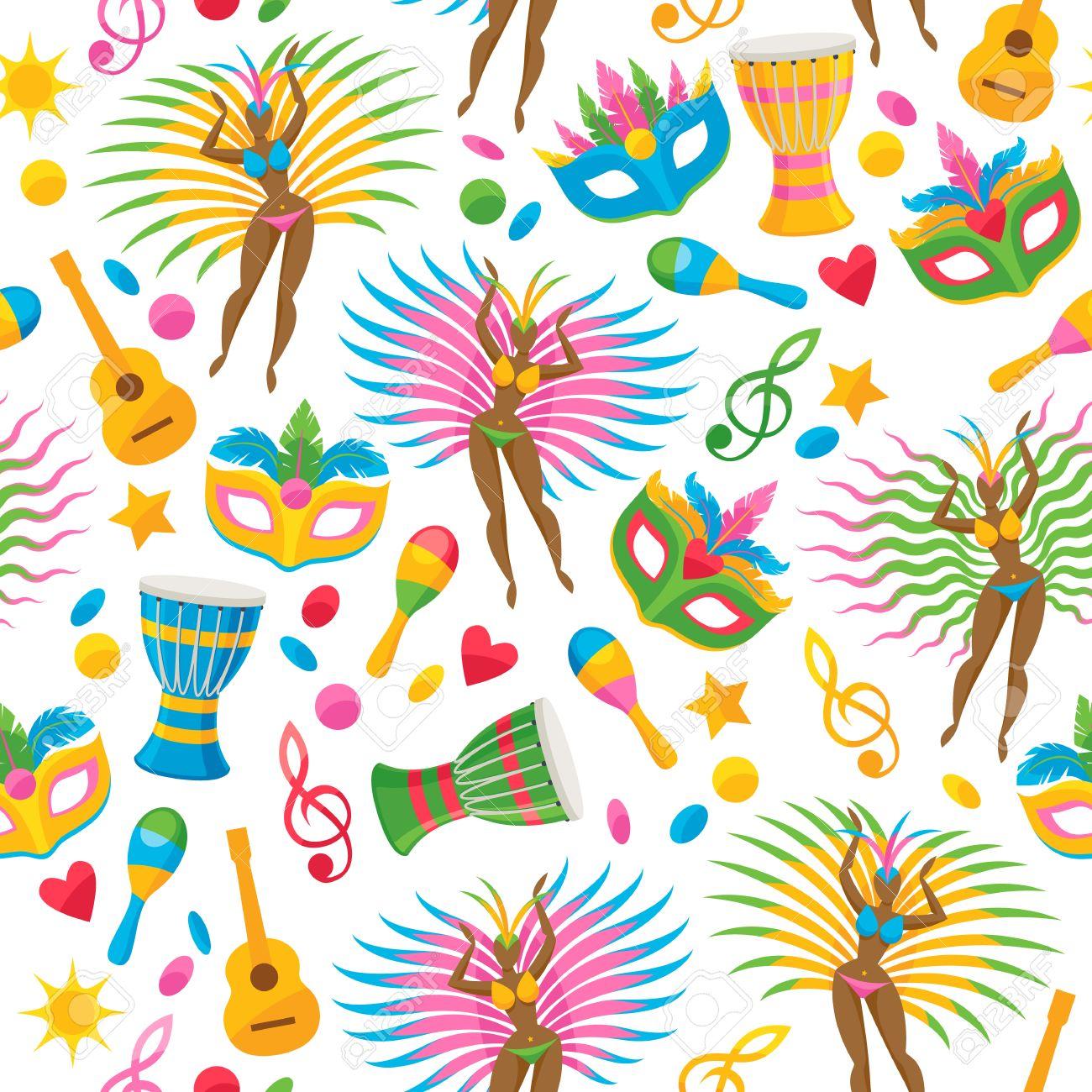 brazilian carnival background colorful vector illustration brazil