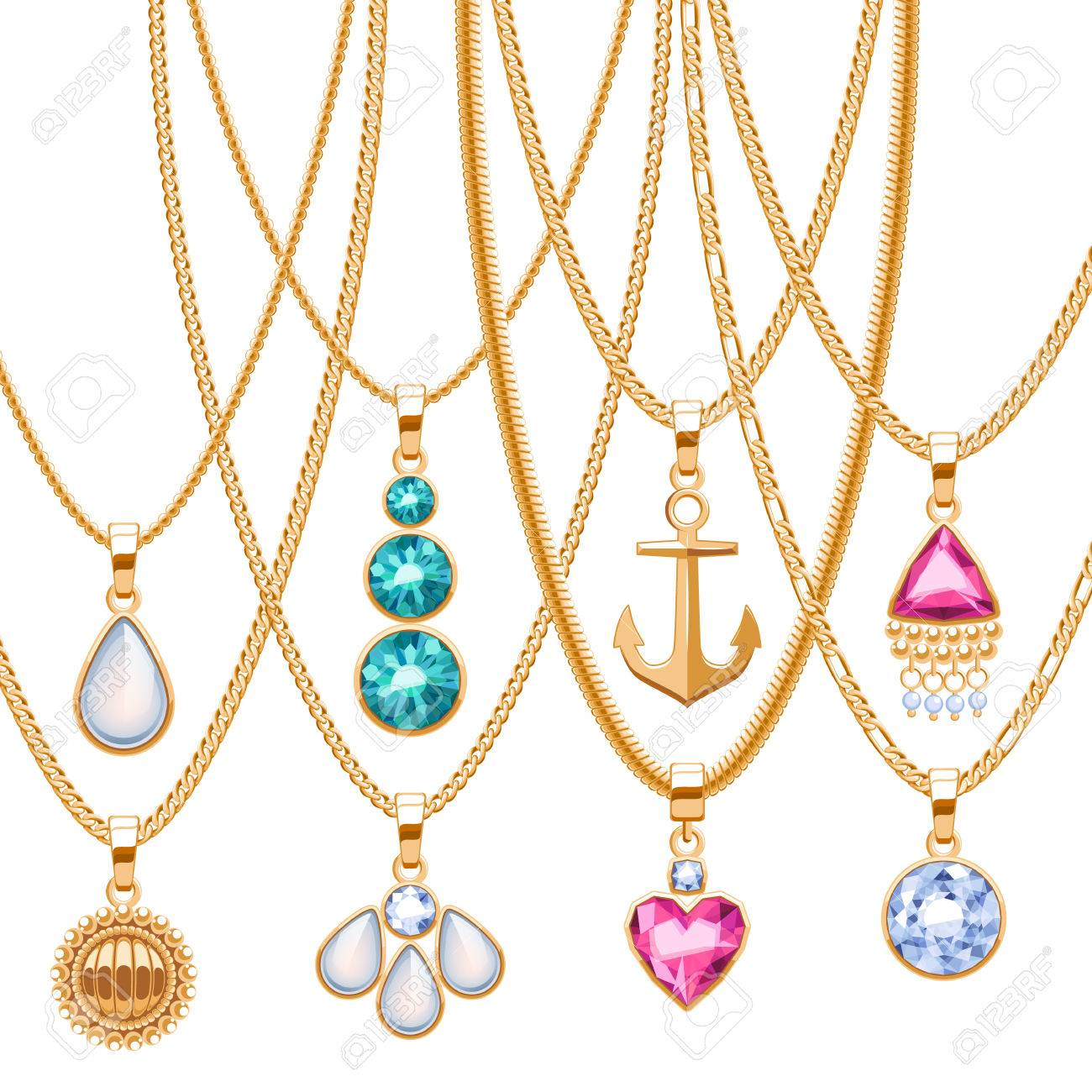 Set of golden chains with different pendants precious necklaces set of golden chains with different pendants precious necklaces golden pendants with gemstones pearls aloadofball Gallery