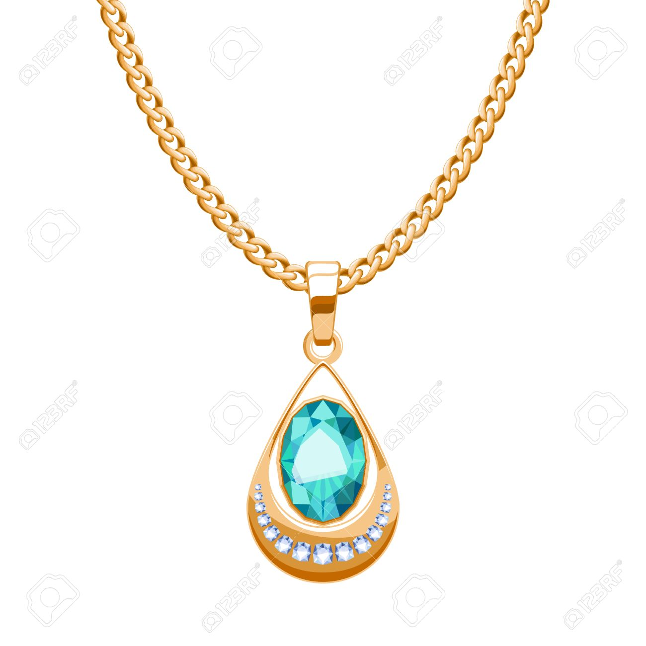Golden chain necklace with diamonds and emerald pendant drop golden chain necklace with diamonds and emerald pendant drop shape jewelry vector illustration design aloadofball Image collections