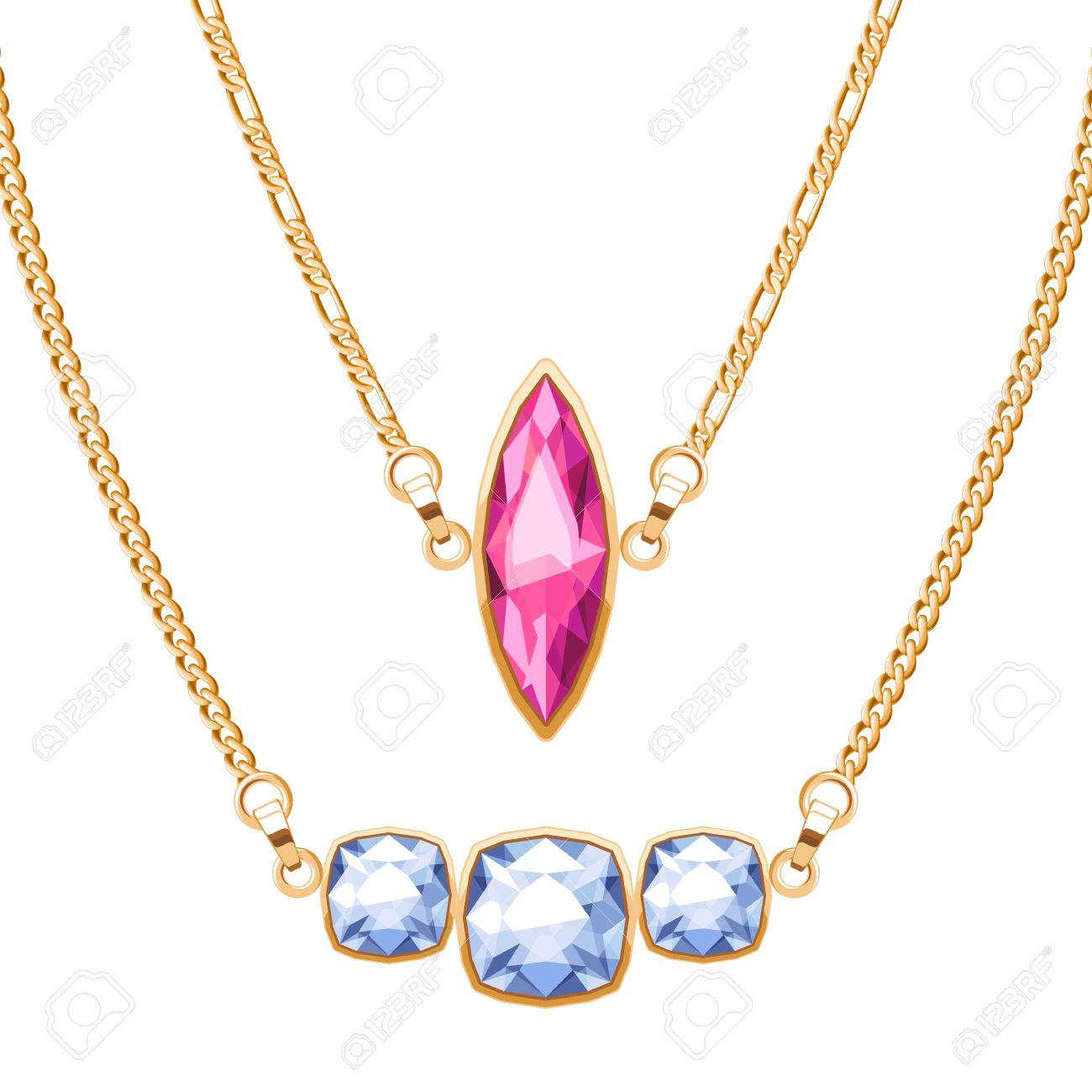 215417b78128 Collares de cadena de oro fijados con rubí y diamantes colgantes de piedras  preciosas. vector