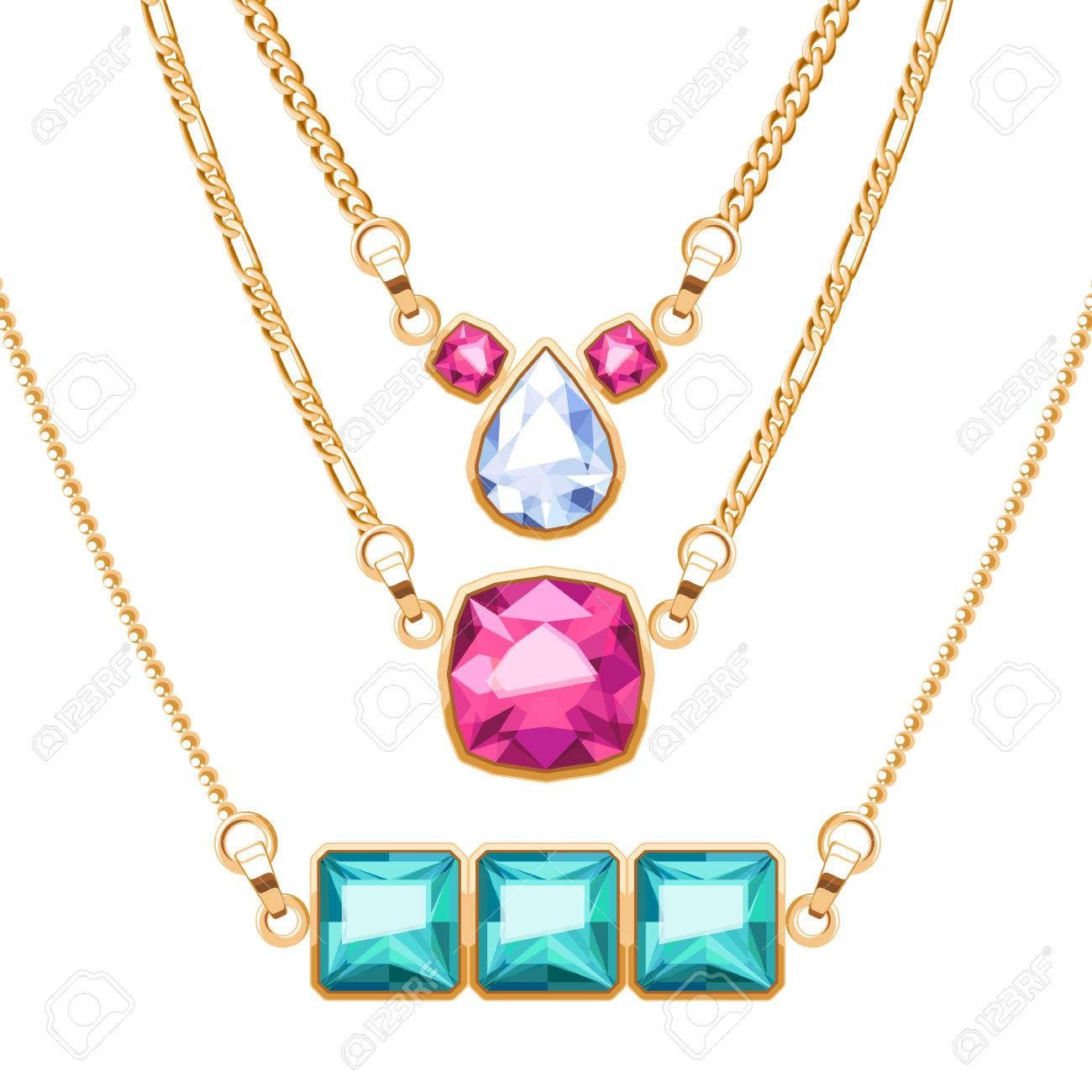7313c3dcc5d6 Collares de cadena de oro fijados con el diamante rubí y esmeralda piedras  preciosas colgantes.