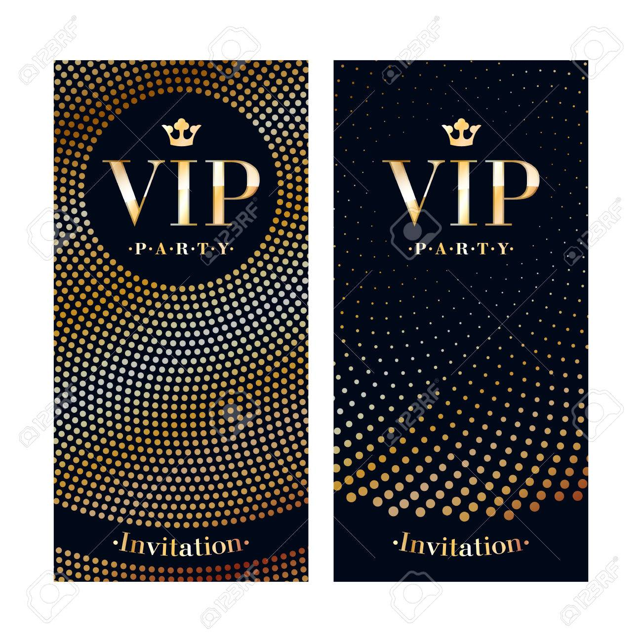 VIP club party premium invitation card poster flyer. Black and golden design template. Sequins and circles pattern decorative vector background. - 58873667