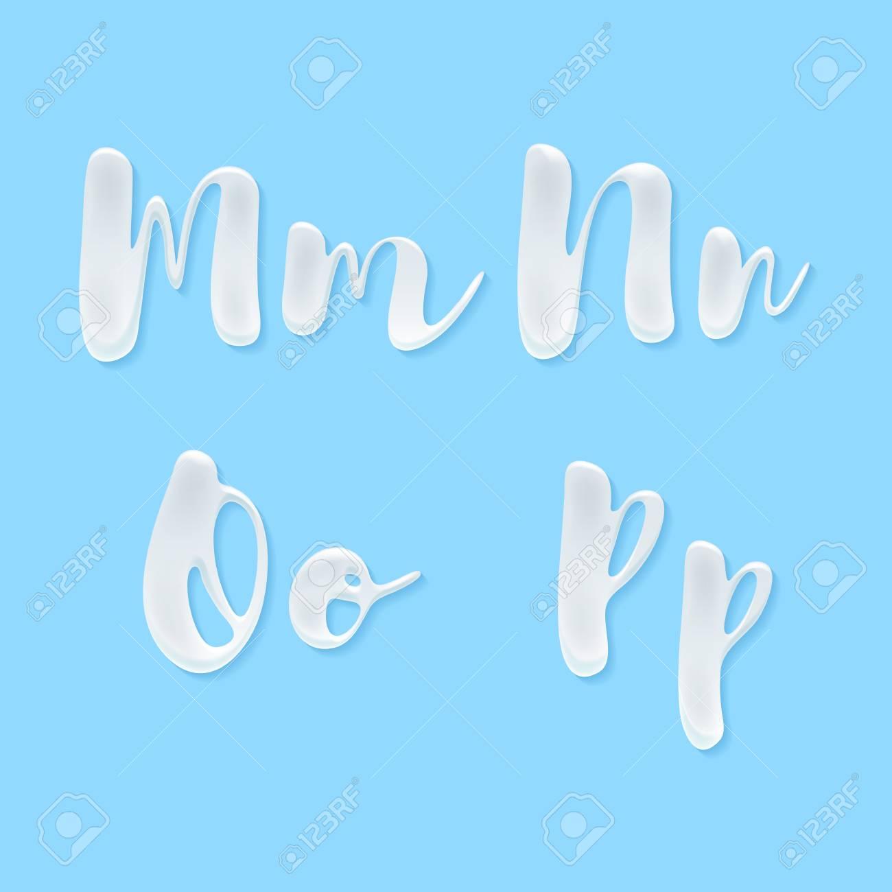 Milk, yogurt or cream abc letters set. White smudges splashes alphabet on blue background vector illustration. Good for poster banner advertising packaging design. - 59873173
