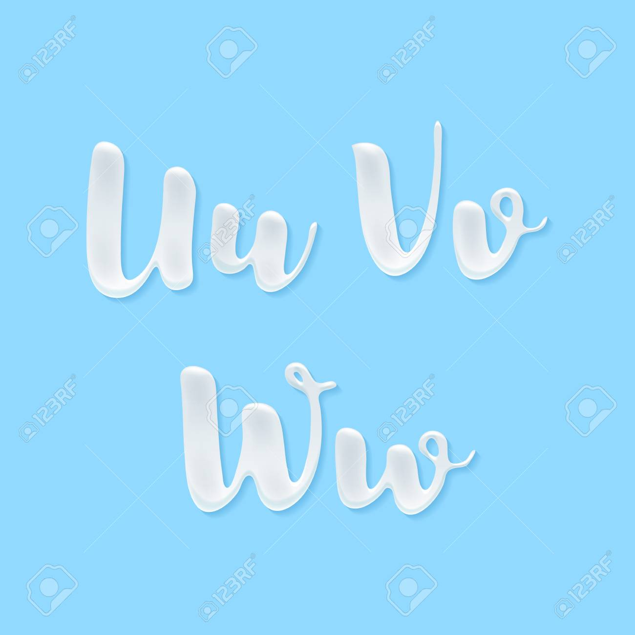 Milk, yogurt or cream abc letters set. White smudges splashes alphabet on blue background vector illustration. Good for poster banner advertising packaging design. - 59873174