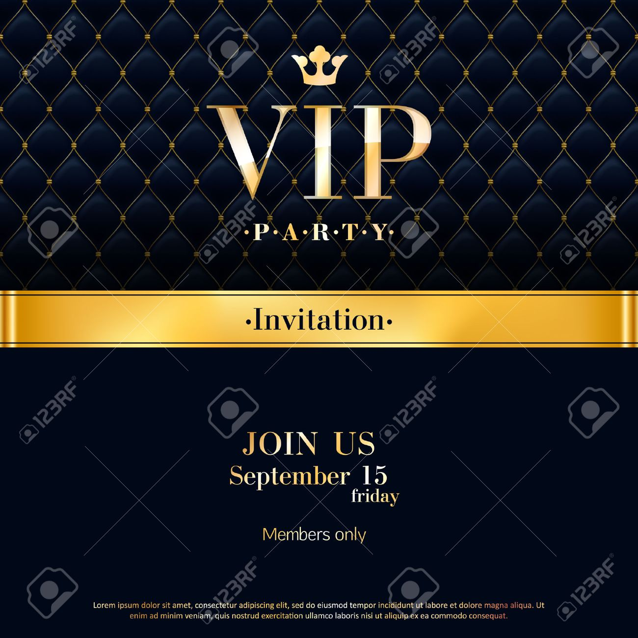 Vip party premium invitation card poster flyer black and golden vector vip party premium invitation card poster flyer black and golden design template quilted pattern decorative background with gold ribbon and round stopboris Gallery