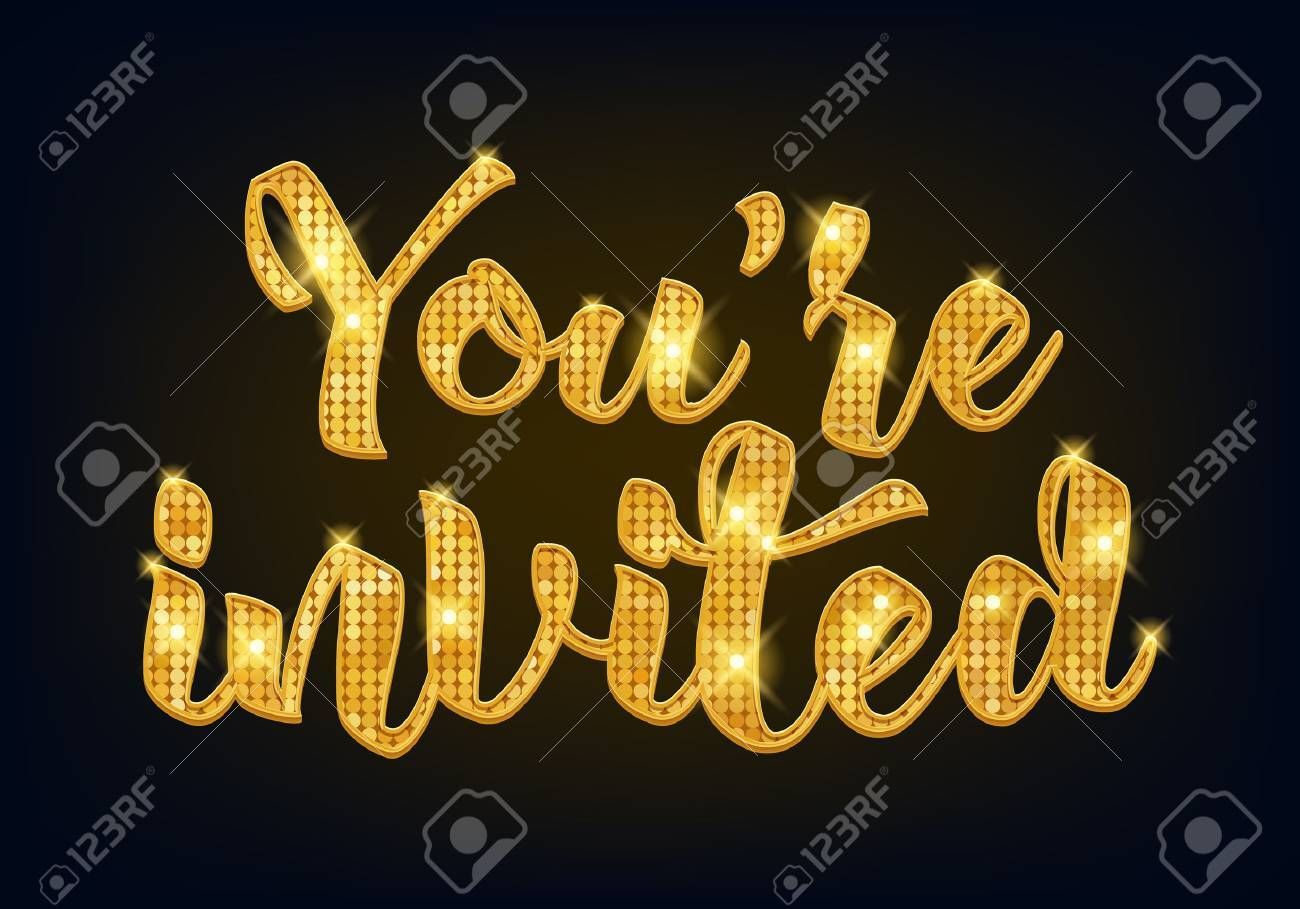 You're invited lettering design vector illustration with stain and ribbon. Golden metallic letters. Good for wedding birthday party celebration design. - 59873305