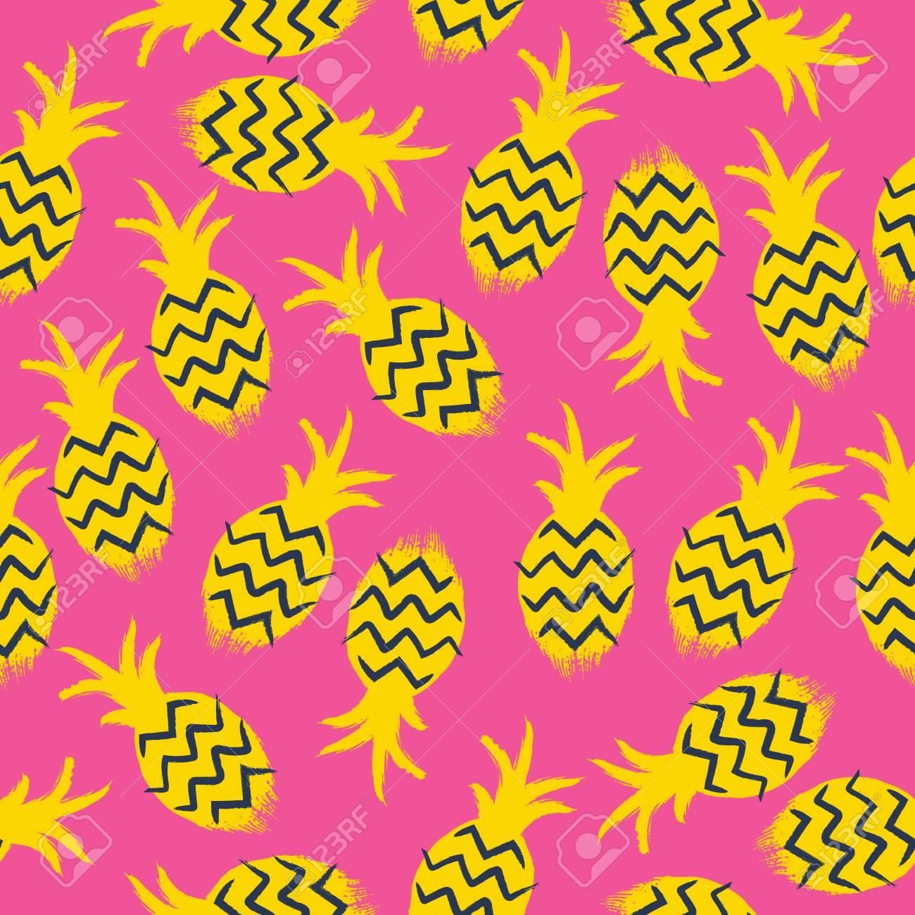 Ananasse Bunten Nahtlose Muster Tropic Früchte Hintergrund Malen