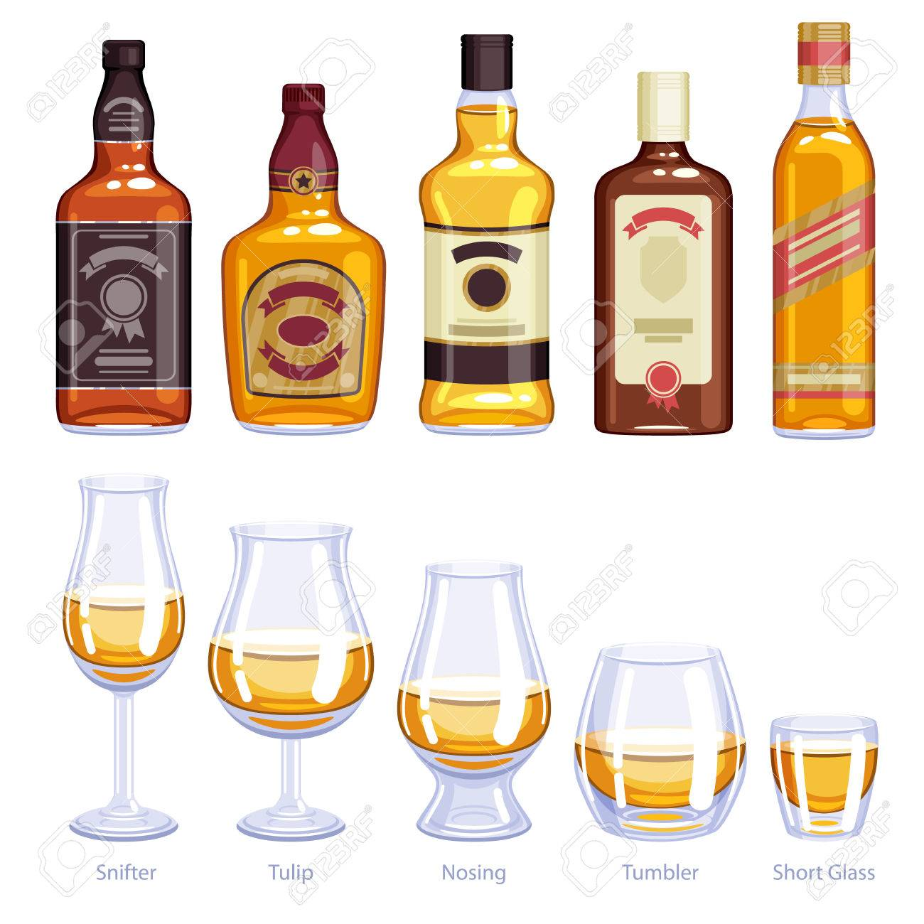 Whisky bottles and glusses icons set. Alcohol vector illustration. Snifter, tulip, nosing, tumbler, short glasses - 62794994